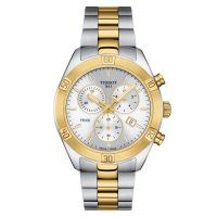 Tissot PR 100 Sport Chic Chronograph Bicolor Gold Silber Damenuhr Quarz 38mm T101.917.22.031.00 | Uhren-Lounge