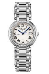 Longines PrimaLuna Damenuhr mit Diamanten Silber Edelstahl-Armband Quarz 30mm L8.112.0.71.6 | Uhren-Lounge