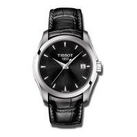 Tissot Couturier Lady Damenuhr mit schwarzem Zifferblatt & Leder-Armband 32mm T035.210.16.051.01