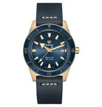 Rado Captain Cook Automatic Bronze Blau Leder-Armband Herrenuhr XL 42mm R32504205 | Uhren-Lounge