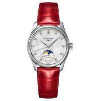 Longines Master Collection Damenuhr Diamanten Mondphase Perlmutt Leder Rot Automatik L2.409.4.87.2