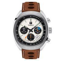 Tissot Heritage 1973 Chronograph Automatik Herrenuhr Weiß Leder-Armband T124.427.16.031.01