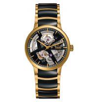 Rado Centrix Automatic Open Heart Herren L Bicolor Schwarz Gold Keramik-Armband 38mm R30180162