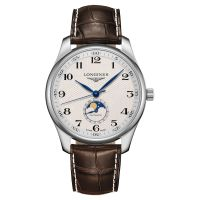 Longines Master Collection Mondphase Silber Leder-Armband Herrenuhr 42mm Automatik L2.919.4.78.3