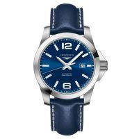Longines Conquest Automatik 43mm Blau Leder-Armband Herrenuhr L3.778.4.96.0