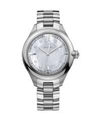 Ebel Damenuhr silber mit Perlmutt-Zifferblatt, Krone mit Diamanten und Edelstahl-Armband 36mm Quarz Onde 1216136