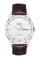 Tissot Heritage Visodate Automatic Uhr Herren 40mm Silber Weiß Lederarmband braun T019.430.16.031.01   Uhren-Lounge