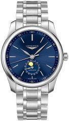 Longines Herren Uhr 42mm Edelstahl Silber Zifferblatt Blau Mondphase Master Collection Automatic L2.919.4.92.6