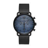 Emporio Armani Uhr Herren Chronograph 43mm Edelstahl schwarz Zifferblatt blau Armband Edelstahl schwarz  Aviator AR11201
