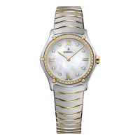 Ebel Sport Classic Lady Damenuhr mit Diamanten Bicolor Perlmutt Zifferblatt weiß Edelstahl-Armband 1216390A   Uhren-Lounge