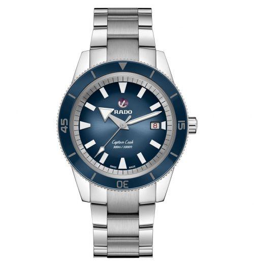Rado Captain Cook Herrenuhr Automatik 42 mm Silber mit blauem Zifferblatt & Edelstahl-Armband R32105203
