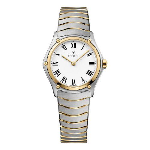 Ebel Uhr Damen Bicolor Silber Gold weißes Zifferblatt römische Ziffern Quarz 29mm Ebel Sport Classic Lady 1216387   Uhren-Lounge