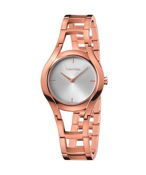 Calvin Klein Damenuhr Rosegold Zifferblatt Silber Quarz 32mm class K6R2362 | Uhren-Lounge