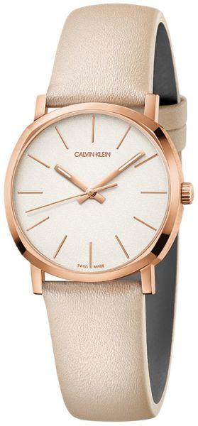 CALVIN KLEIN Uhr Damen Posh Roségold mit beigem Lederarmband K8Q336X2