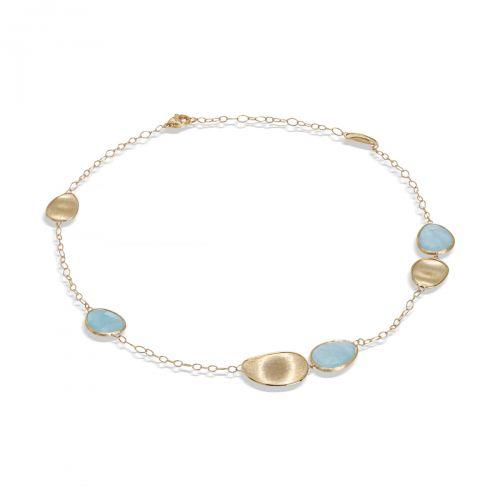 Marco Bicego Kette Gold mit blauen Aquamarin Edelsteinen Lunaria CB1981 AQD Y