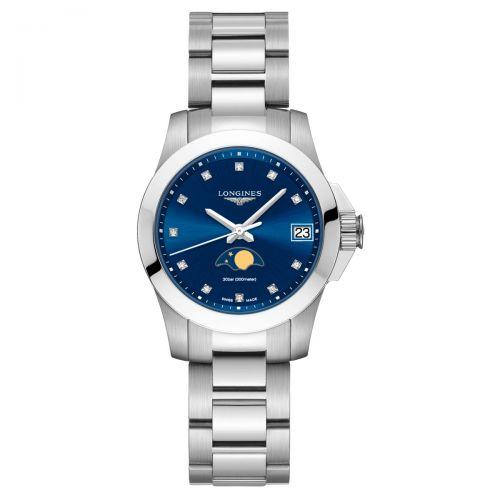 Longines Conquest Mondphase blaues Zifferblatt mit Diamanten 29,5mm Damenuhr Quarz L33804976