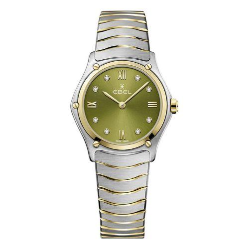 Ebel Sport Classic Lady Damenuhr Bicolor Grün mit Diamanten 29mm 1216473A | Uhren-Lounge