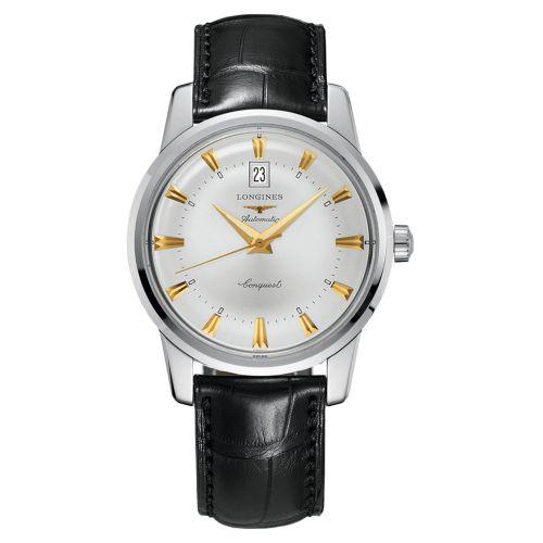 Longines Conquest Heritage Automatic Herrenuhr 40mm Silbern Leder-Armband L16454754