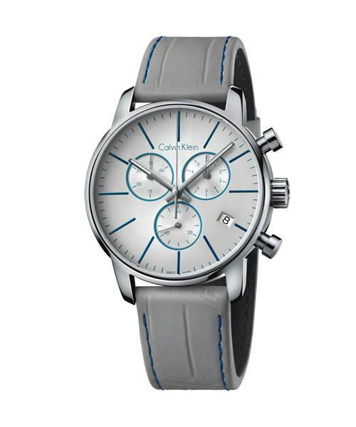 Calvin Klein Uhr Herren Chronograph Grau 43mm mit Lederarmband City K2G271Q4 | Uhren-Lounge