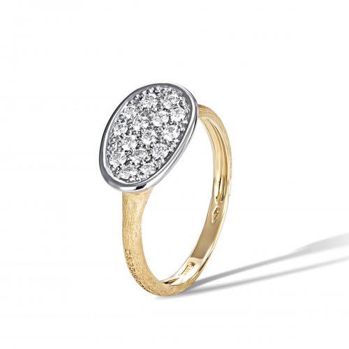 Marco Bicego Lunaria Mini Ring mit Diamanten Pavé Gold 18 Karat AB581 B YW