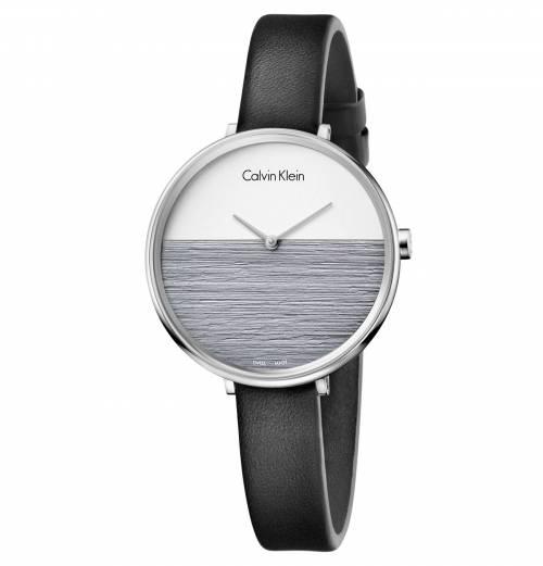 Calvin Klein Damenuhr weiss grau Leder-Armband schwarz Quarz 38mm rise K7A231C3 | Uhren-Lounge