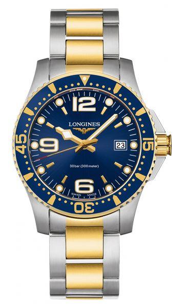 Longines HydroConquest Bicolor Zifferblatt Blau 41mm Quarz Edelstahl-Armband L3.740.3.96.7   Uhren-Lounge