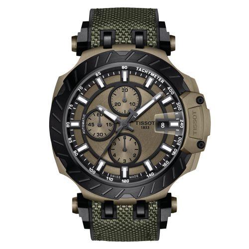 Tissot T-Race Automatic Chronograph Khaki Grün Kautschuk-Armband Herrenuhr 45mm T115.427.37.091.00