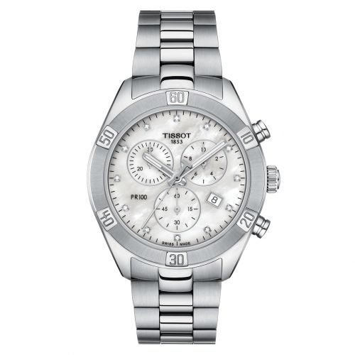 Tissot PR 100 Sport Chic Chronograph Lady Silber Perlmutt Zifferblatt mit Diamanten T101.917.11.116.00 | Uhren-Lounge