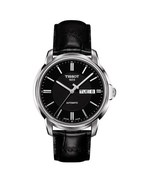 Tissot Automatics III Day-Date Herren 40mm schwarz mit Lederarmband T065.430.16.051.00