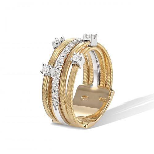 Marco Bicego Goa Ring Gold mit Diamanten 5 Stränge AG270 B2 YW