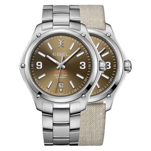 Ebel Discovery Herrenuhr Automatik Braun Edelstahl- & Leinen-Armband 41mm 1216513