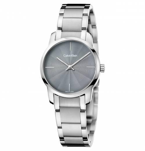 Calvin Klein Damenuhr silber Zifferblatt grau 30mm City K2G23144 | Uhren-Lounge