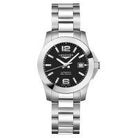 Longines Conquest Damenuhr Automatic 29,5mm Silber mit schwarzem Zifferblatt & Edelstahl-Armband L3.276.4.58.6