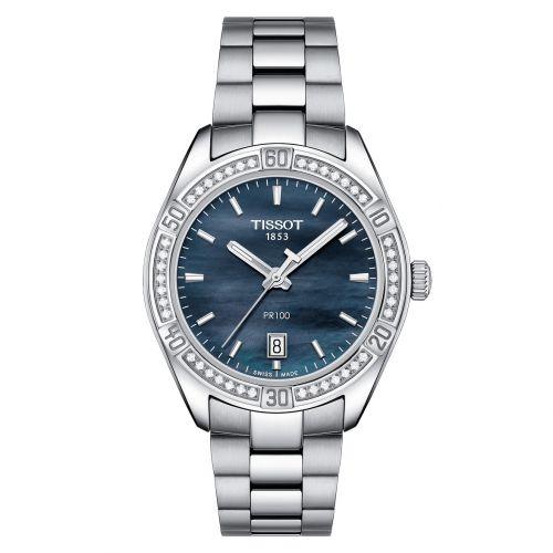 Tissot PR 100 Sport Chic Lady Damenuhr mit Diamanten Silber Perlmutt-Zifferblatt schwarz T101.910.61.121.00 | Uhren-Lounge
