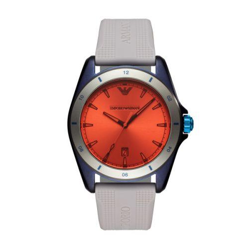 Bunte Armani Herrenuhr mit roten orangen blauen und grauen Elemente AR11218 Sigma