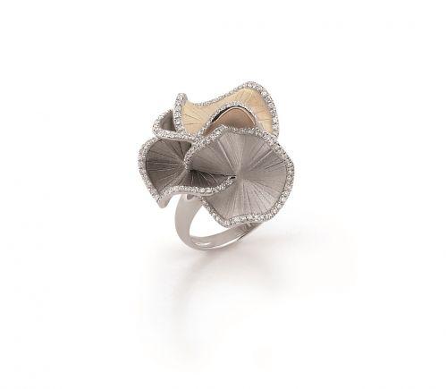 Annamaria Cammilli Sultana Ring 750 Weißgold Schwarzgold Beige Gold mit Diamanten GAN1814T