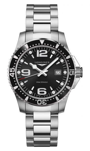 Longines HydroConquest 39 mm Quarz Schwarz Herrenuhr mit Edelstahl-Armband L3.730.4.56.6 | Sale | Uhren-Lounge