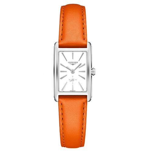 Longines DolceVita Damenuhr mit weißem Zifferblatt & Leder-Armband Orange 32mm Quarz L5.255.4.11.8
