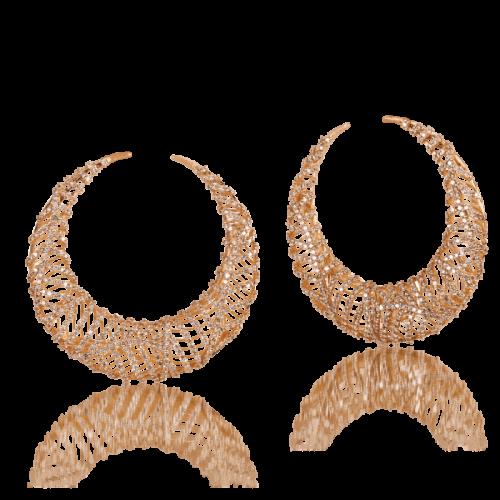 Luisa Rosas Tribe Creolen Ohrringe Rosegold mit braunen Diamanten LRTR073