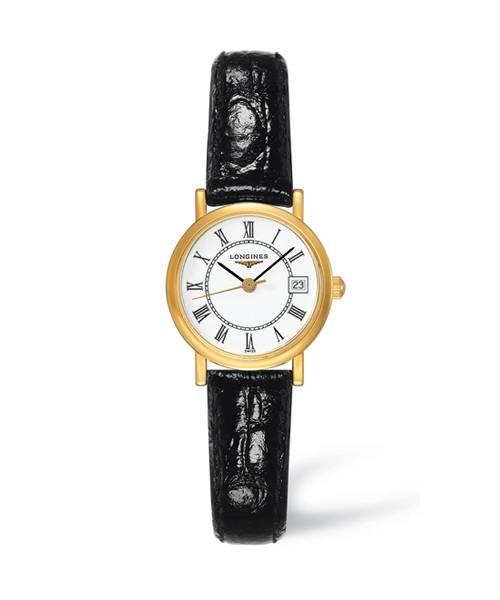 Longines Presence Damenuhr Gold mit weißem Zifferblatt und römischen Ziffern & schwarzem Leder-Armband Quarz 23mm L4.277.6.11.0
