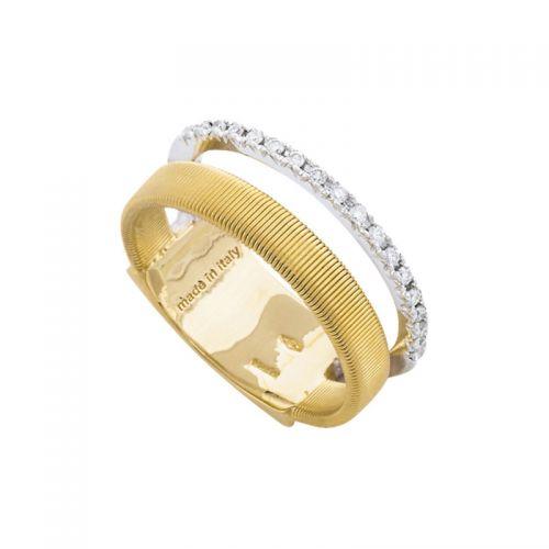 Marco Bicego Ring Gold mit Diamanten Pave 2 Stränge Masai AG324 B YW M5