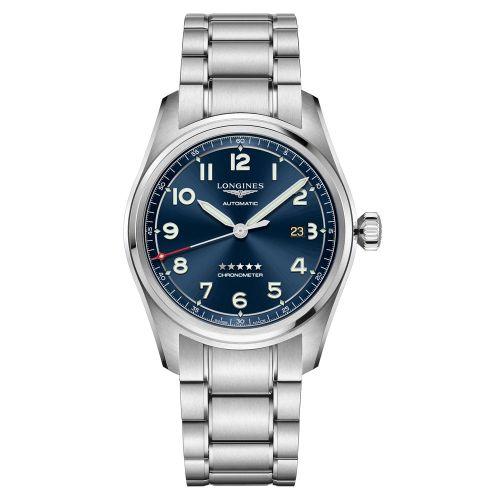 Longines Spirit Automatic 42mm Silber Blau Edelstahl-Armband Herrenuhr Chronometer L3.811.4.93.6   Uhren-Lounge