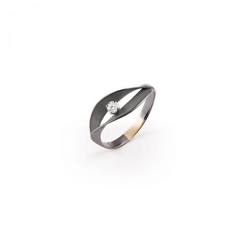 Annamaria Cammilli Ring Dune Assolo Schwarz Gold mit Diamanten Essential GAN3236E