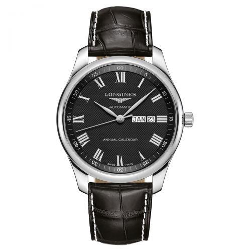 Longines Master Collection Annual Calendar 42mm Schwarz Leder-Armband Herrenuhr L2.920.4.51.7