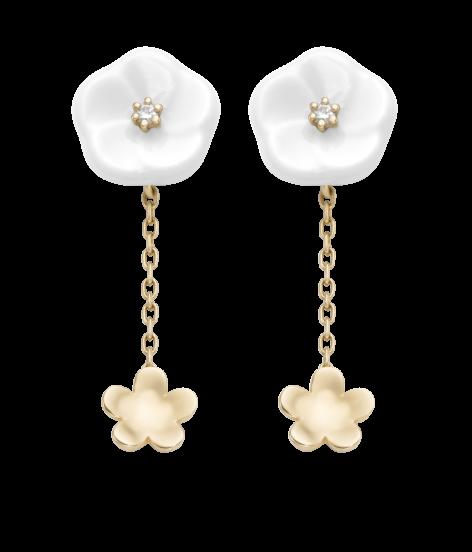Meissen Ohrringe 2 Blüten Porzellan Gold Diamanten 1739 Royal Blossom MPJ55BL38600