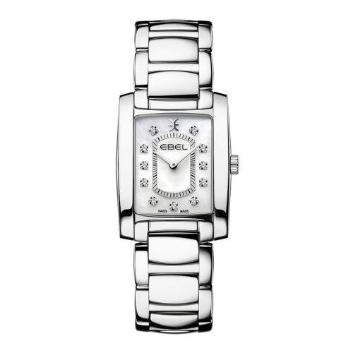 Ebel Uhr Damen eckig silber Perlmutt-Zifferblatt weiß mit Diamanten Edelstahl-Armband Quarz Brasilia Lady Mini 1216462 | Uhren-Lounge