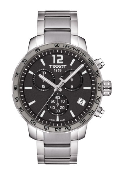 Tissot Quickster Herren Chronograph 42mm Silber Anthrazit Quarz Edelstahl-Armband T095.417.11.067.00 | Uhren-Lounge