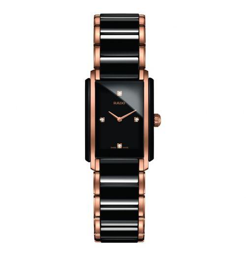Rado Integral Diamonds S Damenuhr mit Diamanten Schwarz Rosegold Keramik Quarz R20612712 | Uhren-Lounge