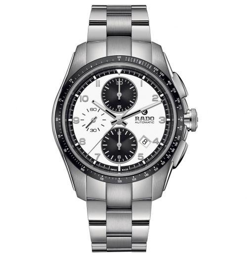 Rado HyperChrome Automatic Chronograph XXL Silber Weiß Edelstahl-Armband Herrenuhr 44mm R32042103 | Uhren-Lounge