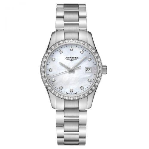 Longines Conquest Classic Damenuhr 34mm Silber Perlmutt & Diamanten Quarz L2.386.0.87.6